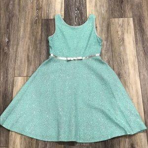 Turquoise blue & silver girls dress-sz 14